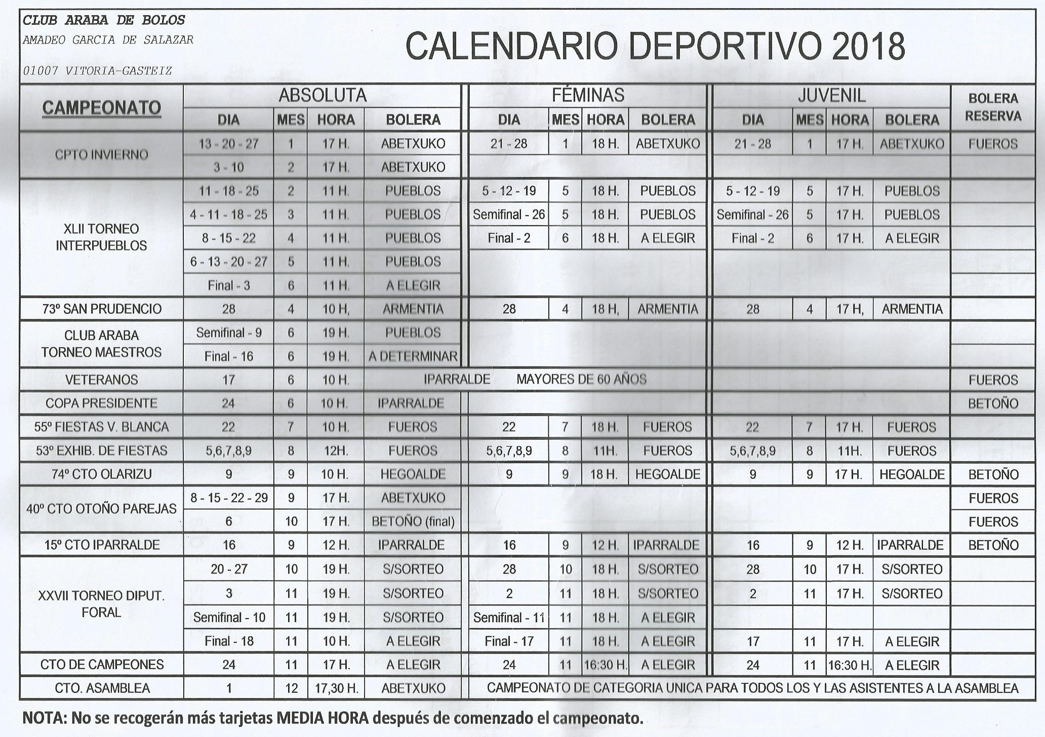 CALENDARIO BOLOS2018