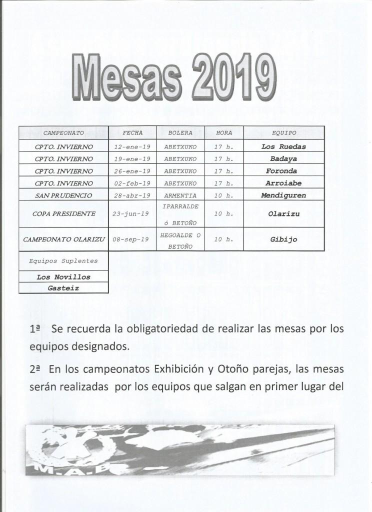 Mesas 2019